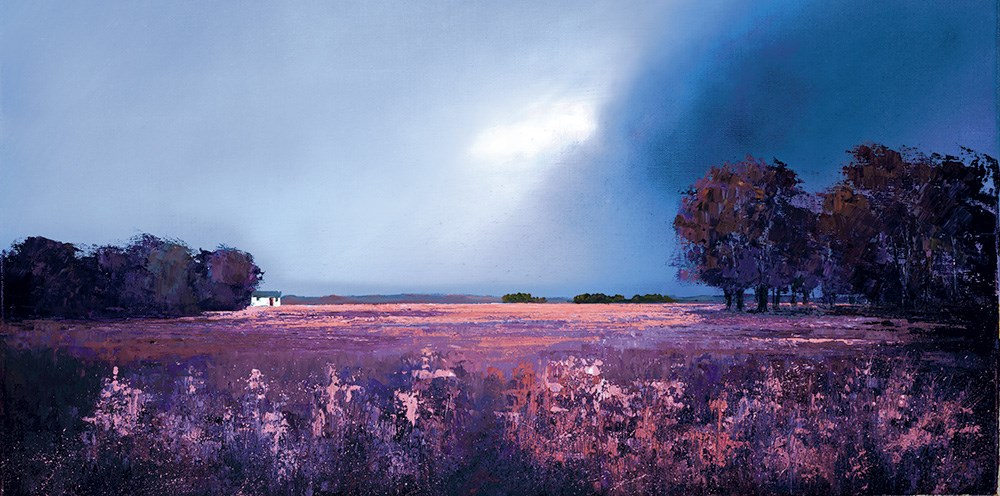 Shades of Dusk by Barry Hilton - Hand Finished Canvas on Board sized 25x12 inches. Available from Whitewall Galleries